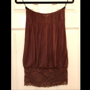 Color Swatch Tops - Loose fit sleeveless top with snug lace detail
